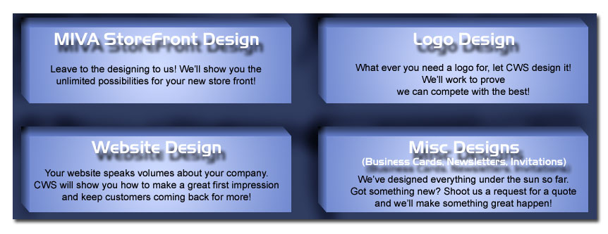 MIVA Storefront Design, Logo Design, Website Design, Misc Designs